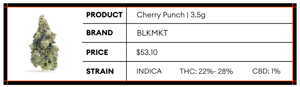 Buy Indica Strain Cherry Punch by BLKMKT at High Tea Cannabis Co.