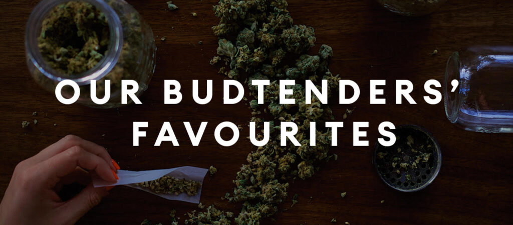 """Image of cannabis across a table and a female hand with pink nails rolling a joint. Text says """"our budtenders' favourites"""""""
