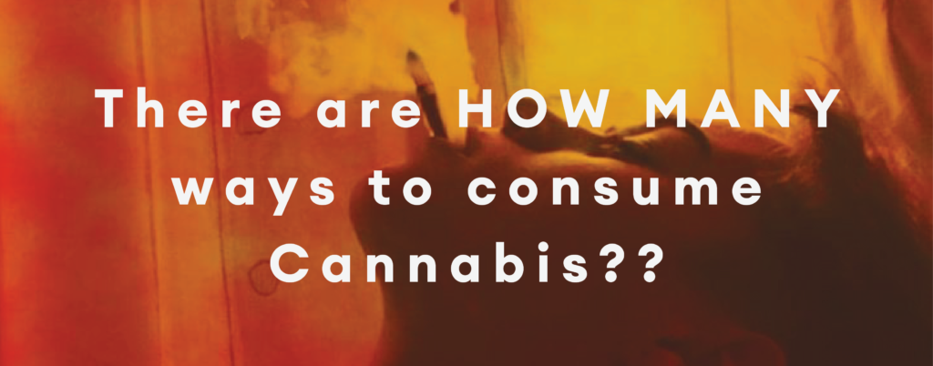 There are HOW MANY ways to consume Cannabis? Image of person smoking a joint in hazy orange background. High Tea Cannabis Co.